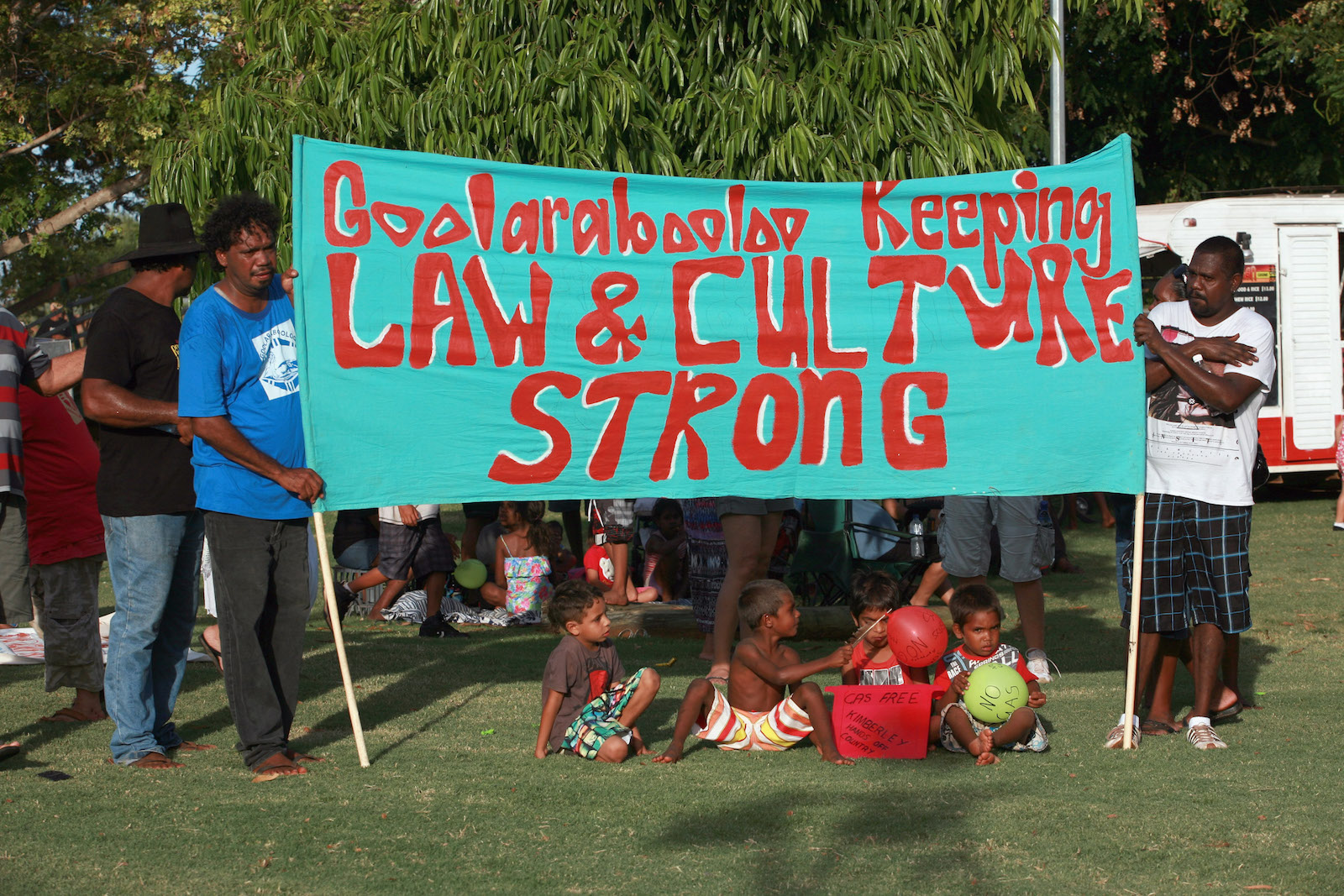 "Broome residents attend ""The Nowhere Else But Here"" protest rally in 2011 in response to Woodside Energy LTD's plans for oil and gas exploration activity along the Kimberley coast."