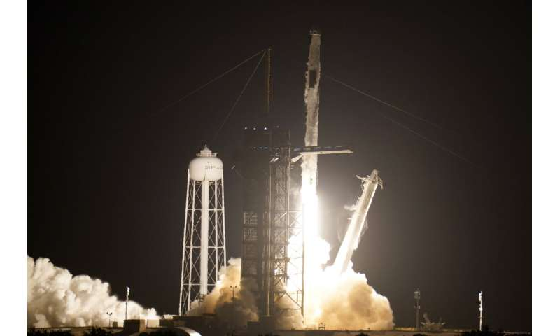 SpaceX launches 3rd crew with recycled rocket and capsule